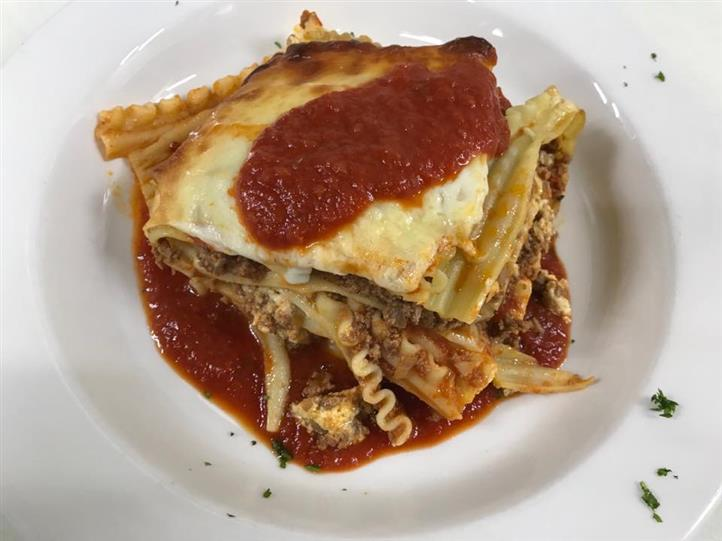 Slice of lasagna on a plate