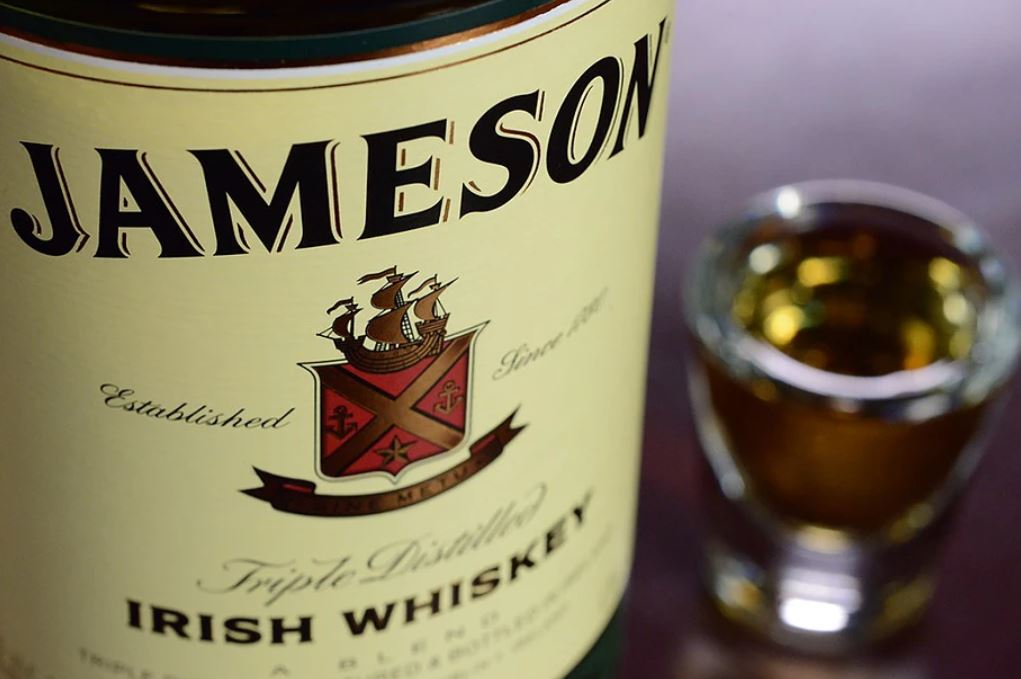 Close-up of the label on a bottle of Jameson Irish Whiskey