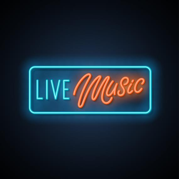 "fluorescent light sign which reads ""live music"""