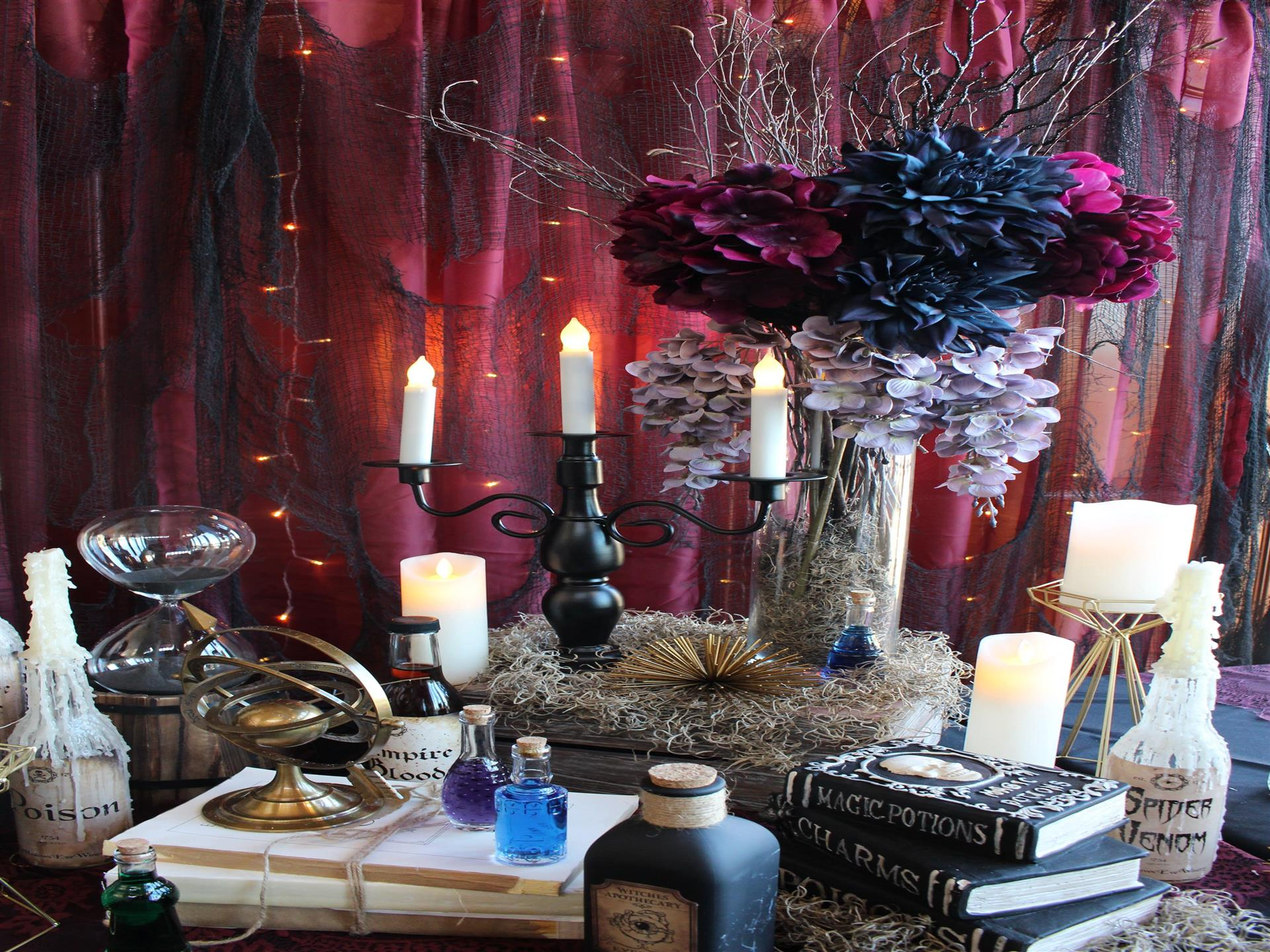Party Room candle display with flowers