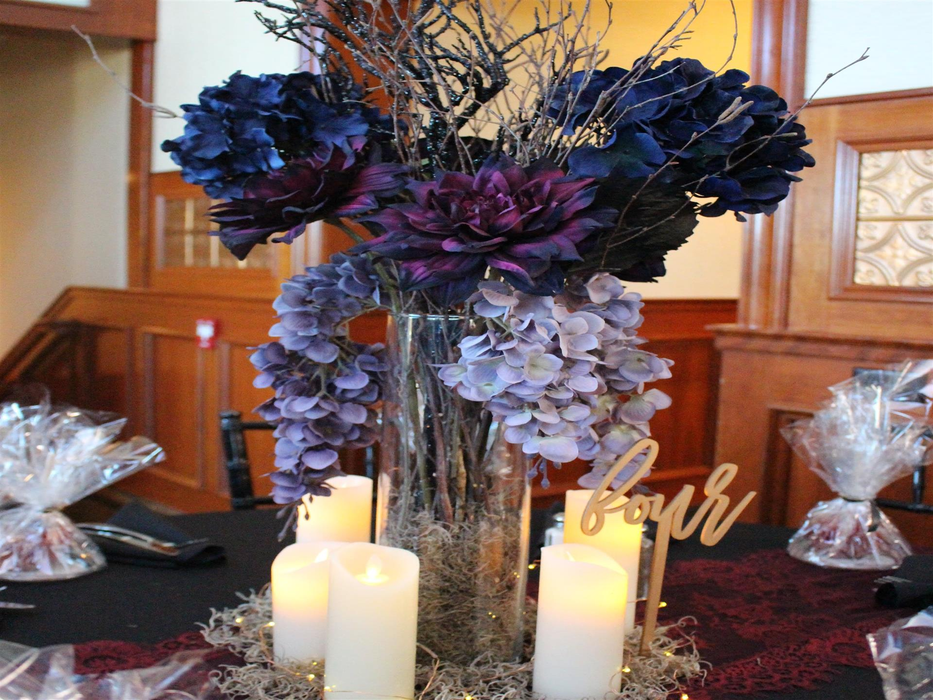 Party Room flower display with candles