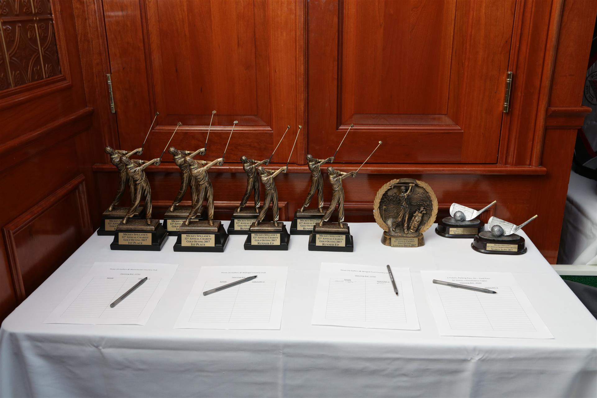 a variety of trophies