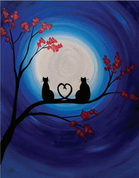 painting of two cats sitting on a tree branch