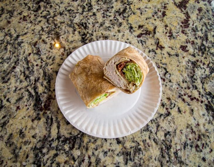 Turkey Club Wrap includes turkey, bacon, cheddar, lettuce with ranch