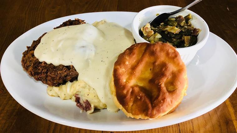Country Fried Steak, Creamy Mashed Potatoes, Bacon Seasoned Corn, and a Buttermilk Biscuit!!