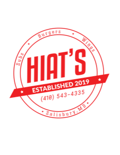 Hiat's Logo- Established 2019 / (410)543-4335 / Subs, Burgers, Wings / Salisbury, MD