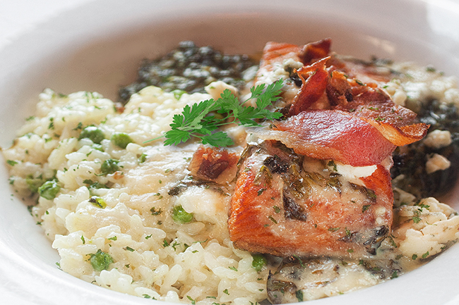 Tuscan salmon with risotto
