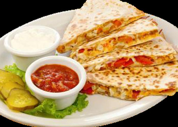 quesadilla with side of salsa and sour cream served with pickle slices