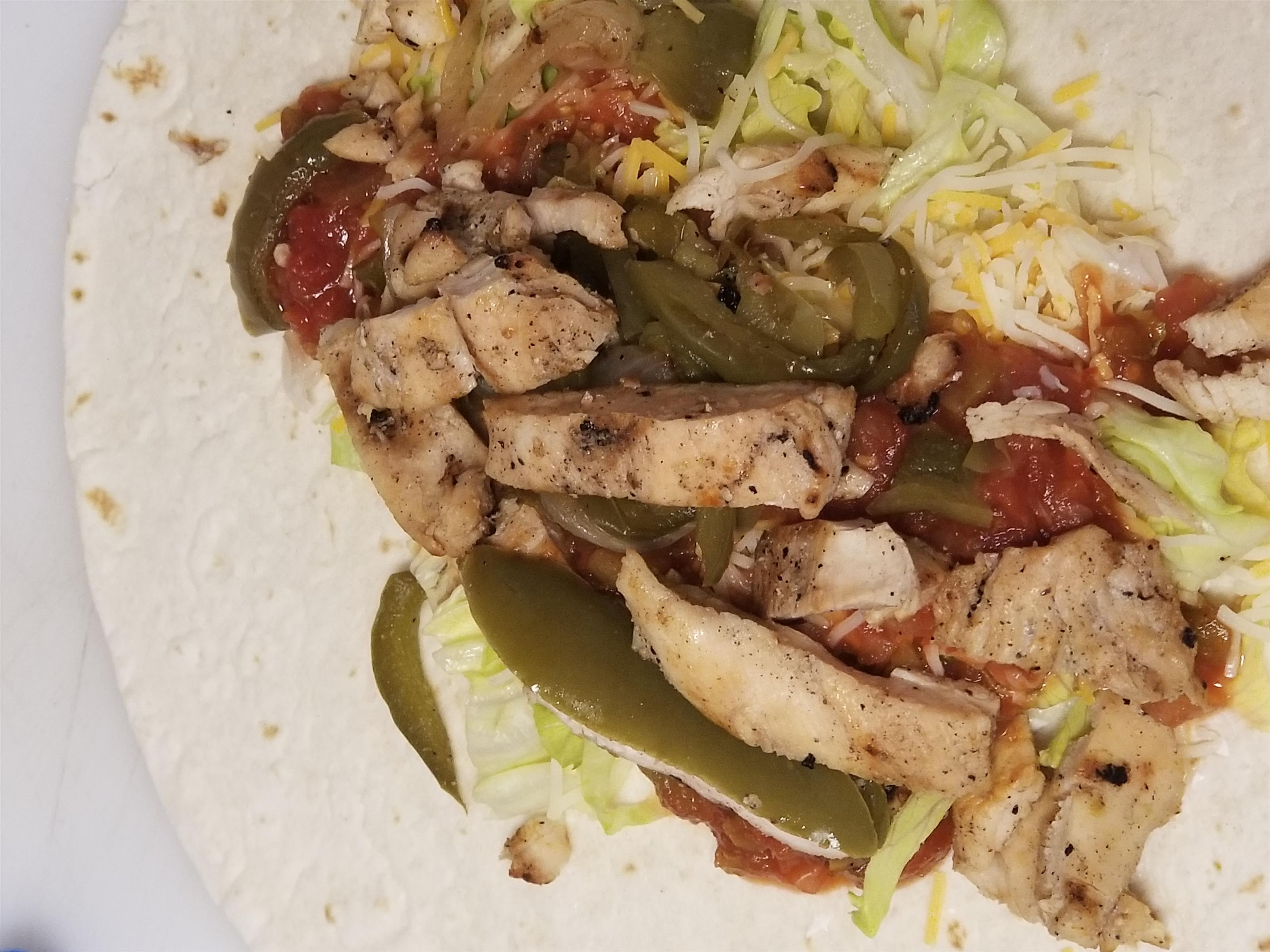 Wrap with chicken and vegetables