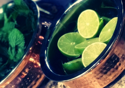 cut up limes in a bowl