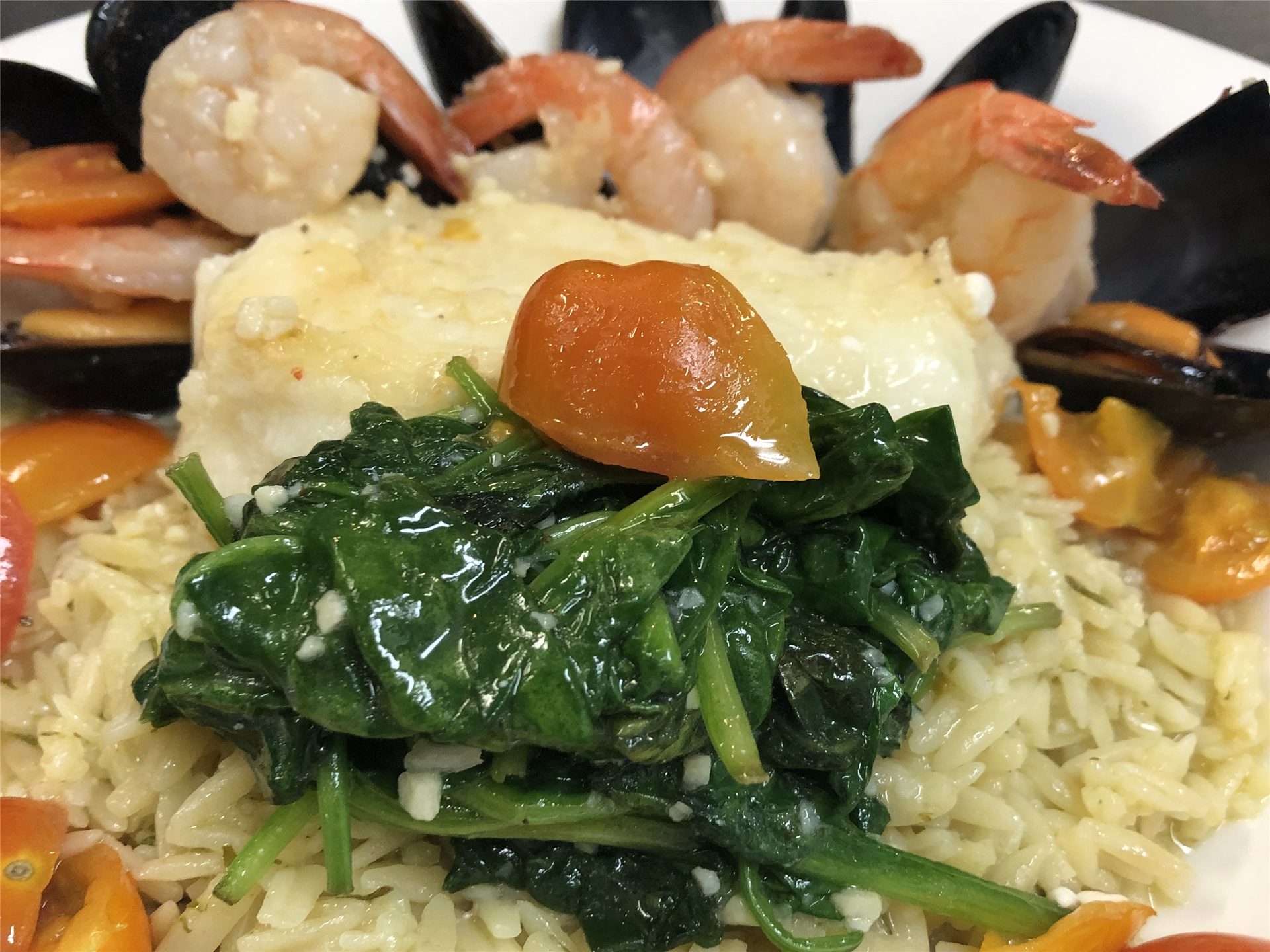 shrimp and clams with rice pilaf