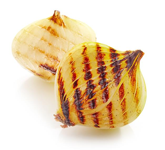 grilled onion cut in half