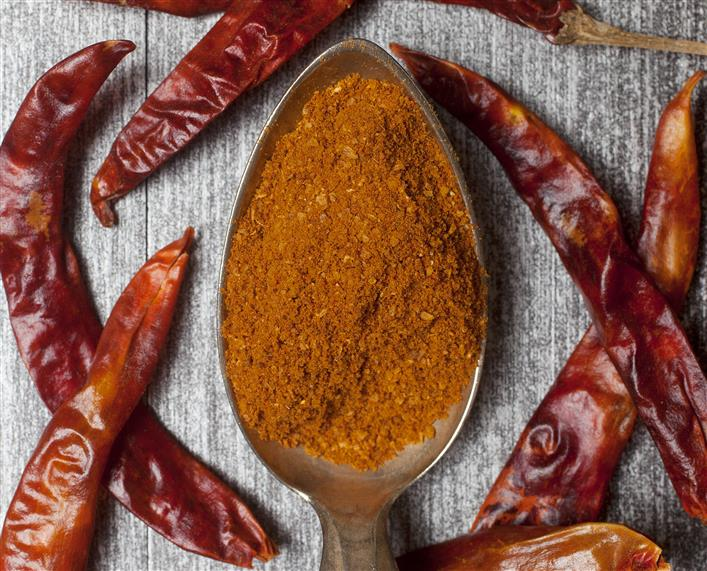 scoop of harissa spice with dried hot chili peppers