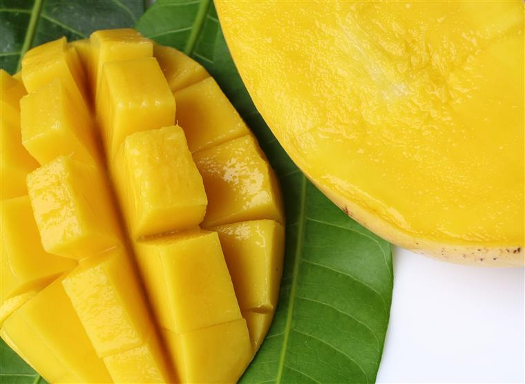 fresh mango sliced open