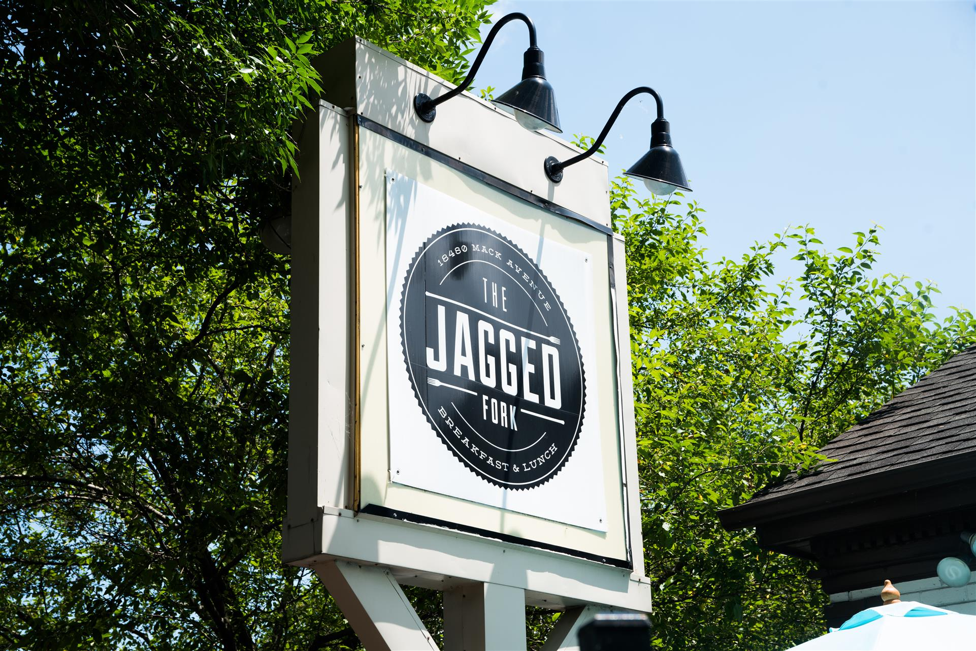 The Jagged Fork sign outside of the Restaurant