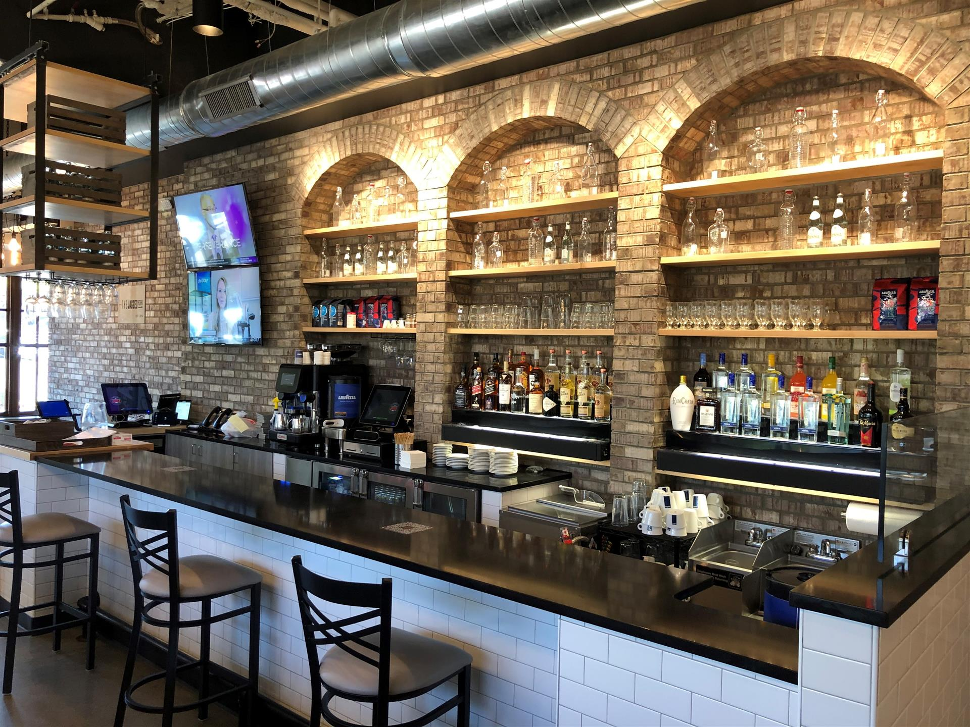 bar area at the jagged fork