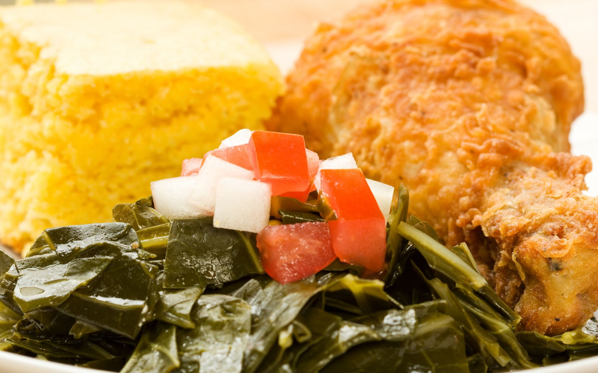 Fried Chicken with collard greens and cornbread