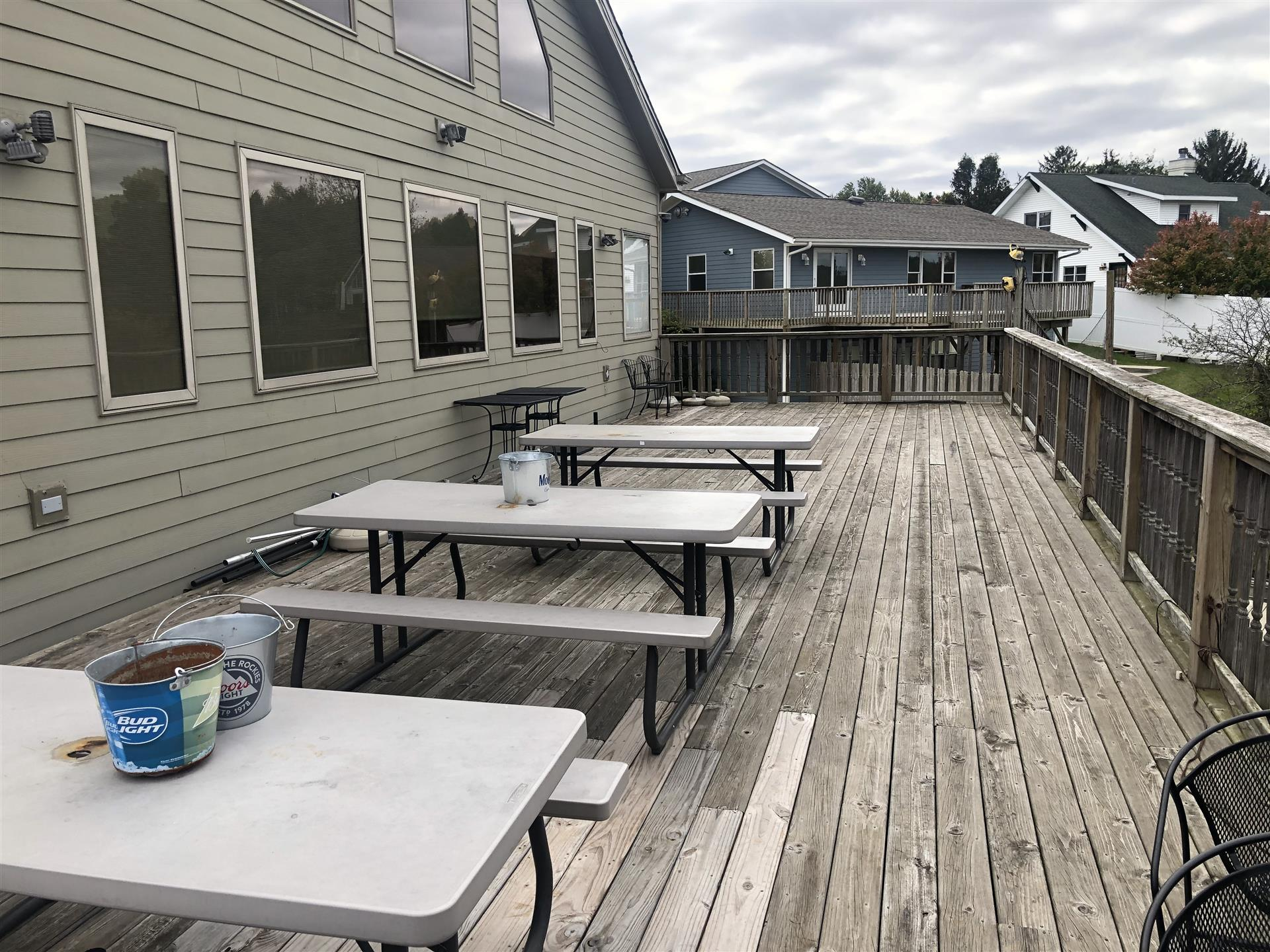 outdoor tables on a deck