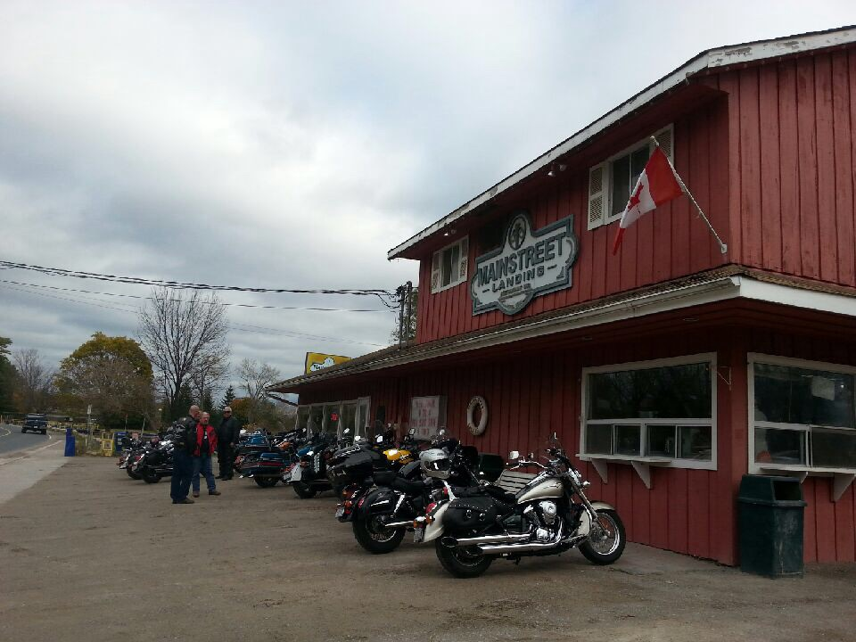 Exterior of Mainstreet Landing with motorcycles parked out front