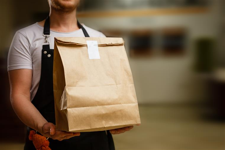 brown paper bag takeout food