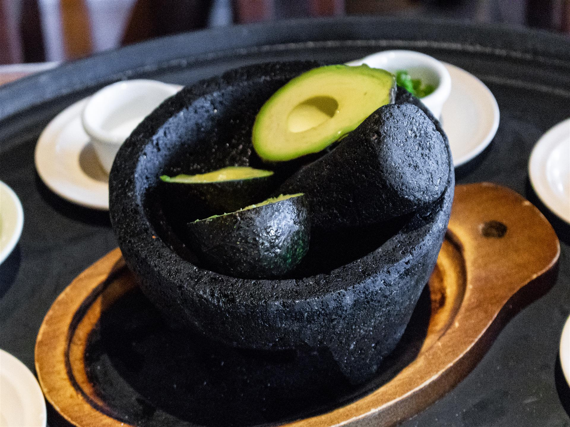 molcajete with avocados inside
