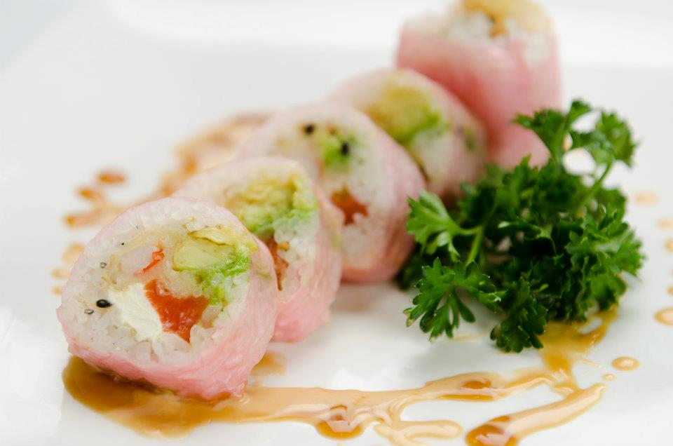 Rolls with cream cheese and salmon