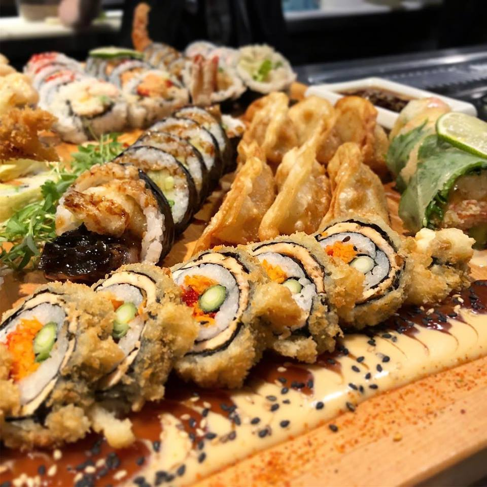 Assorted tempura rolls with gyoza
