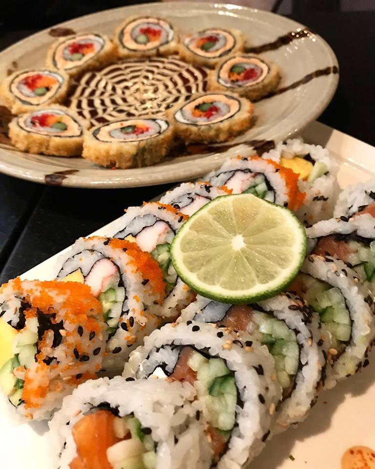Dragon eyes pieces with california roll