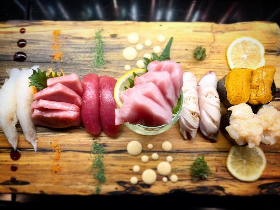 Assorted sashimi on wooden board