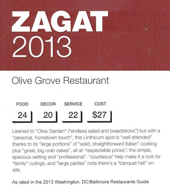 Olive Grove Zagat 2013 Rated Excellent!!