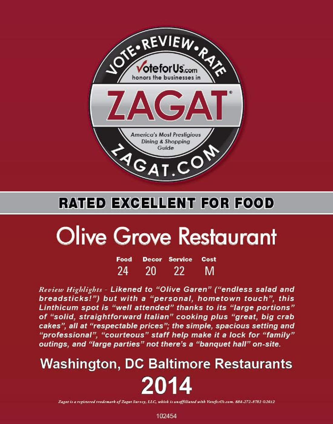 Olive Grove Zagat 2014 Rated Excellent!!