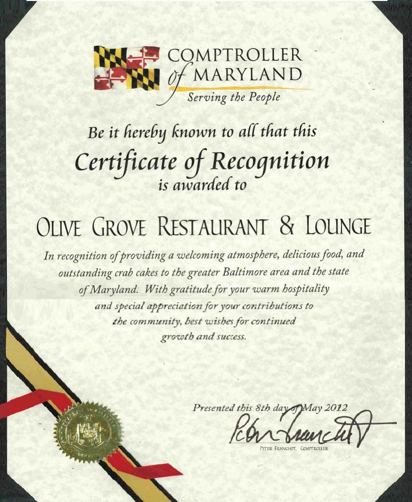 Olive Grove Restaurant Comptroller Award 5-8-2012
