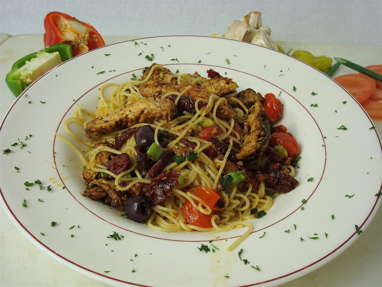 Mediterranean Style Angel Hair with Chicken