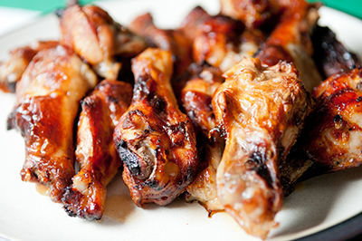 Smoked chicken wings on plate