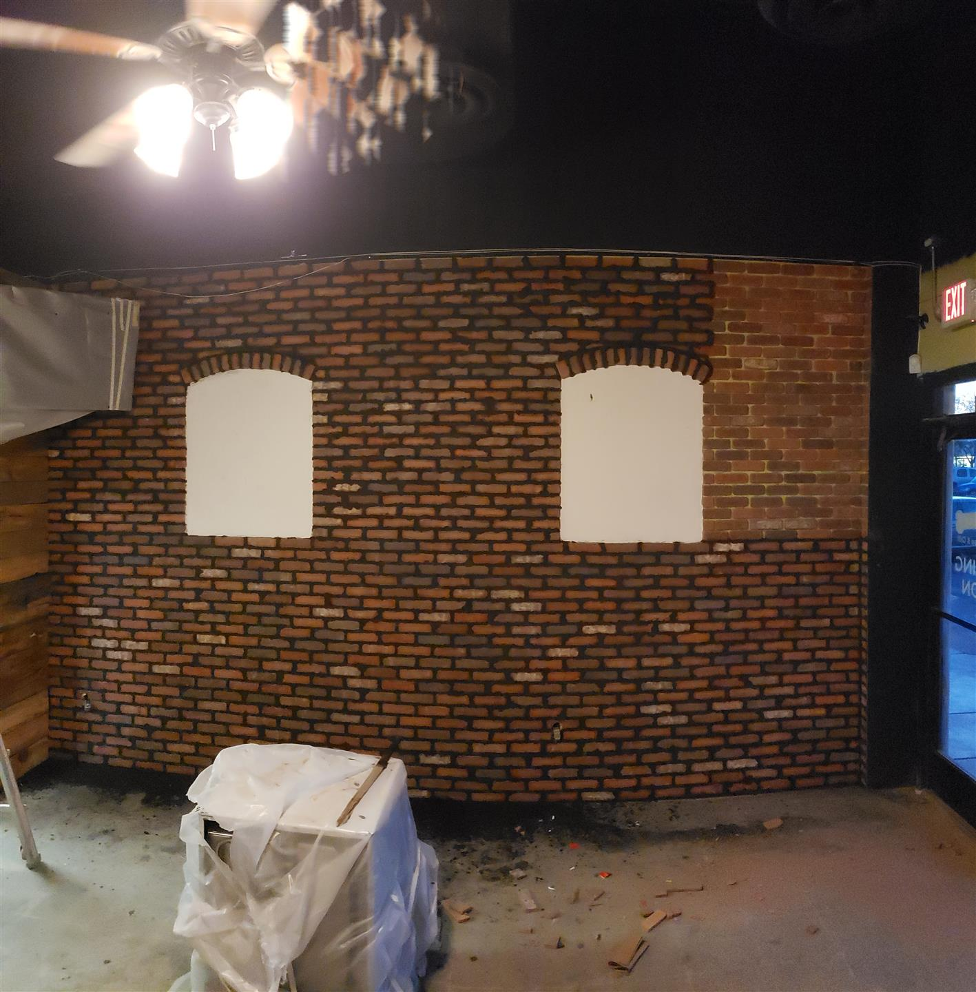 interior view of renovations on brick wall