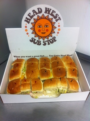 21 Sandwiches in Head West Sub Stop catering box.