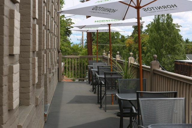 outdoor patio with tables and umbrellas on a sunny day