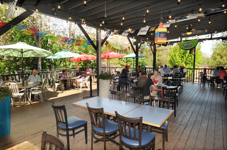 outdoor seating area at la fiesta mexican restaurant and cantina