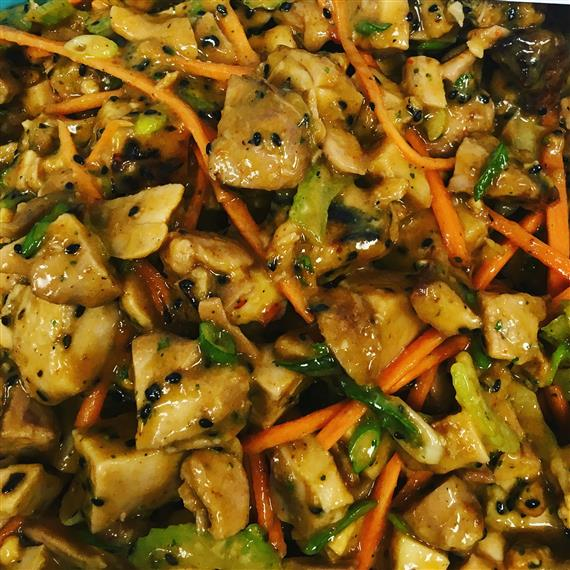 mixed sauteed vegetables and chicken asian sesame sauce