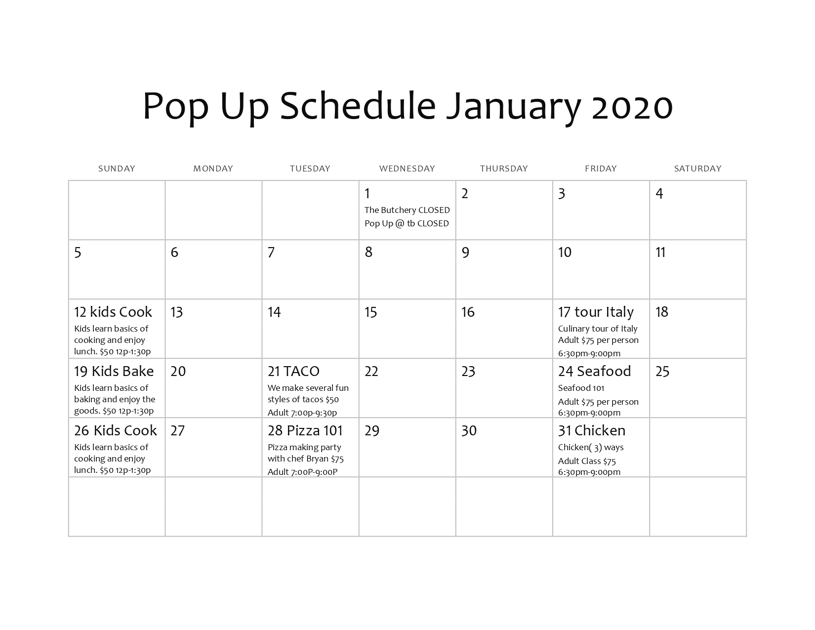 Pop Up Schedule January 2020