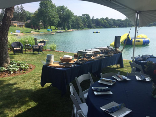 barbecue catering event at a lake
