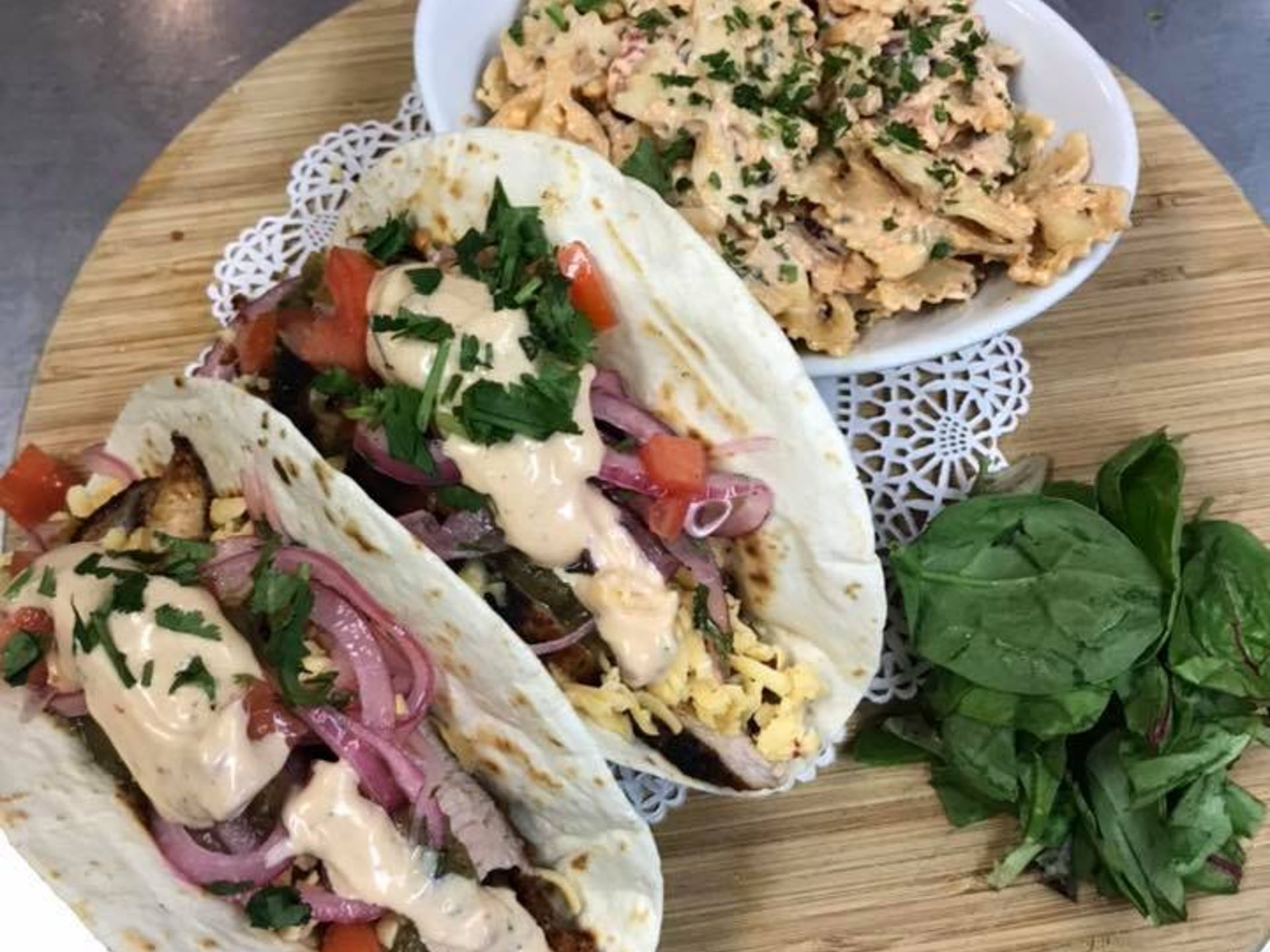 tacos and a side of pasta salad
