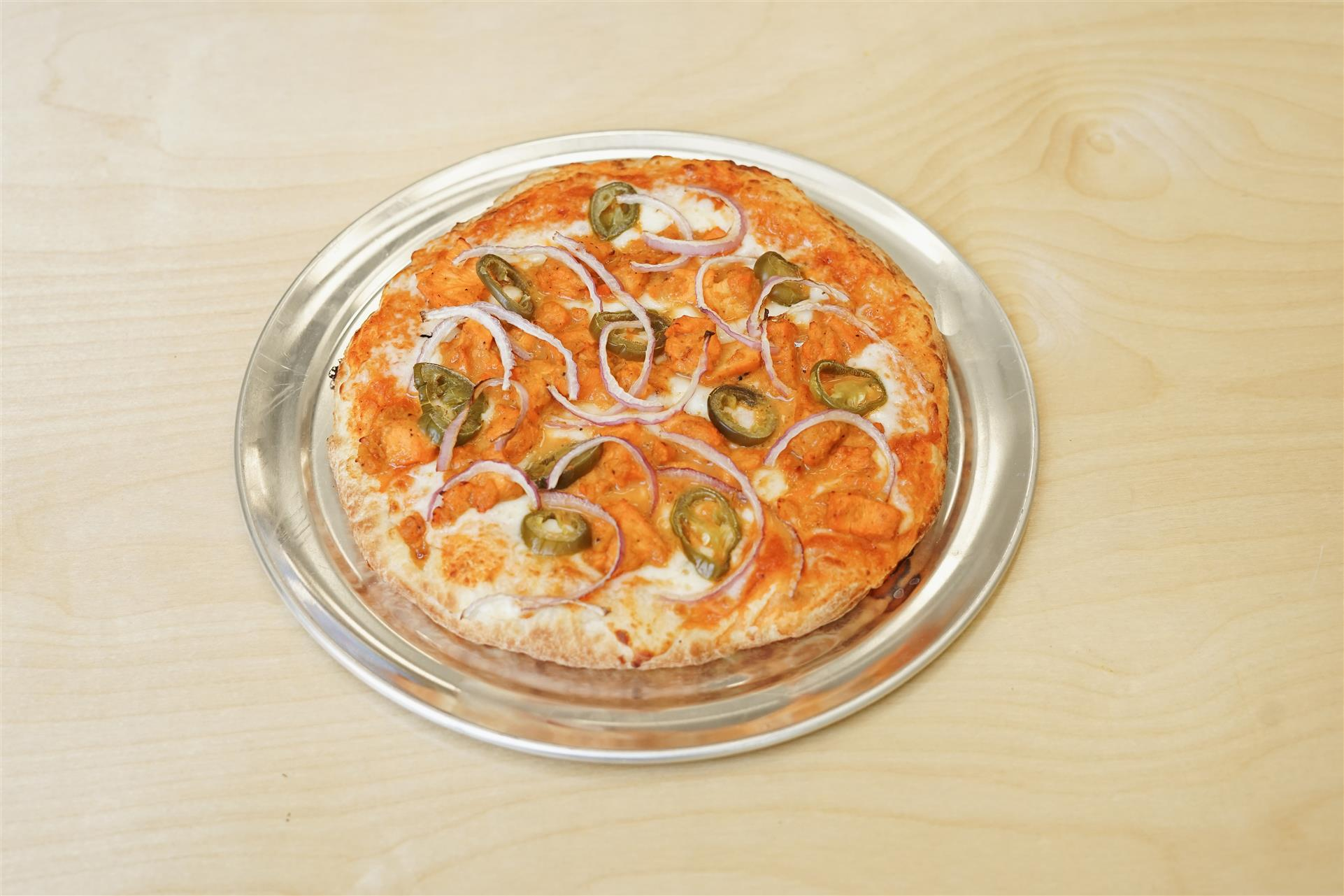 pizza with onions and jalapenos