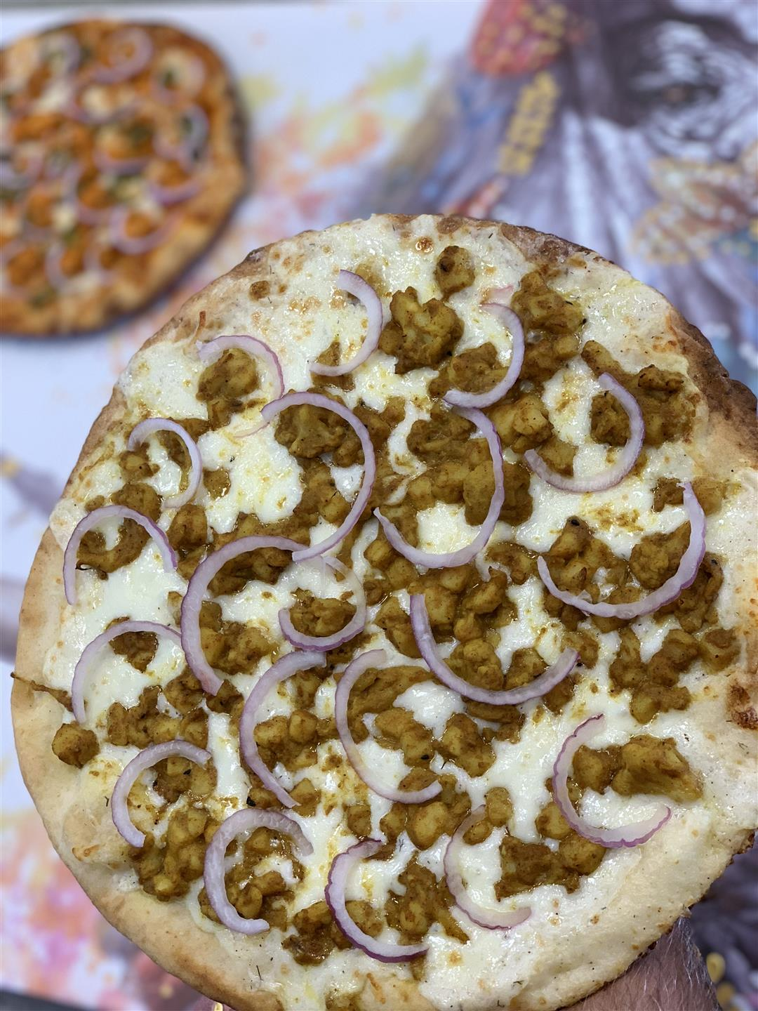 pizza topped with onions and meat