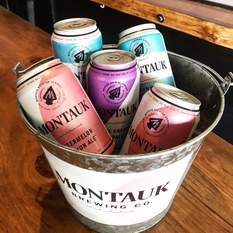 Bucket with 5 Montauk Brewing beers
