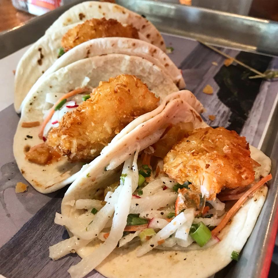 Three coconut shrimp tacos