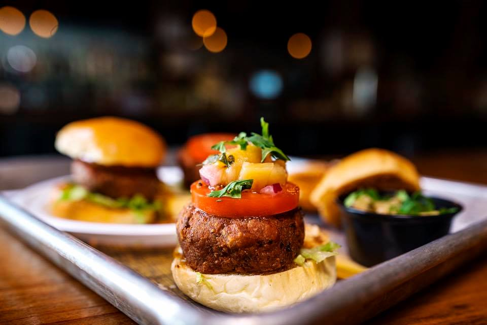 Falafel sliders with coconut pineapple salsa