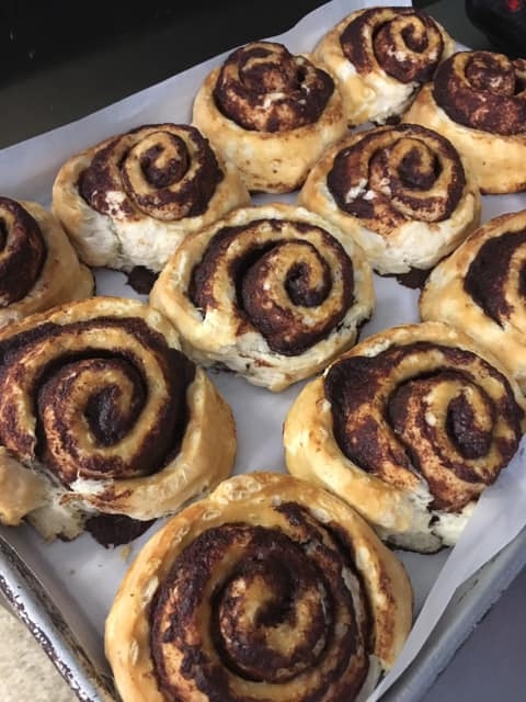 Cinnamon rolls on a tray