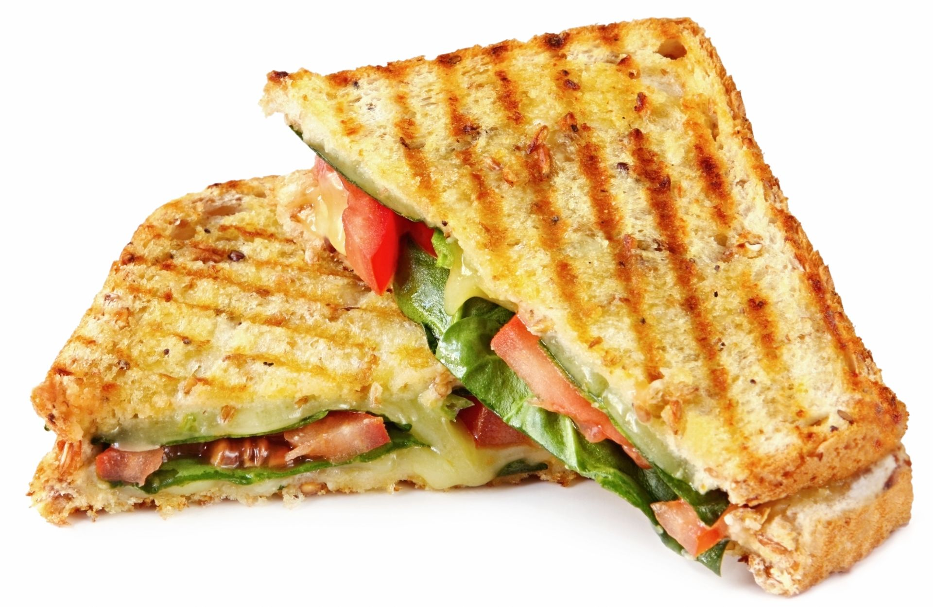 Grilled panini with lettuce, tomato and cheese