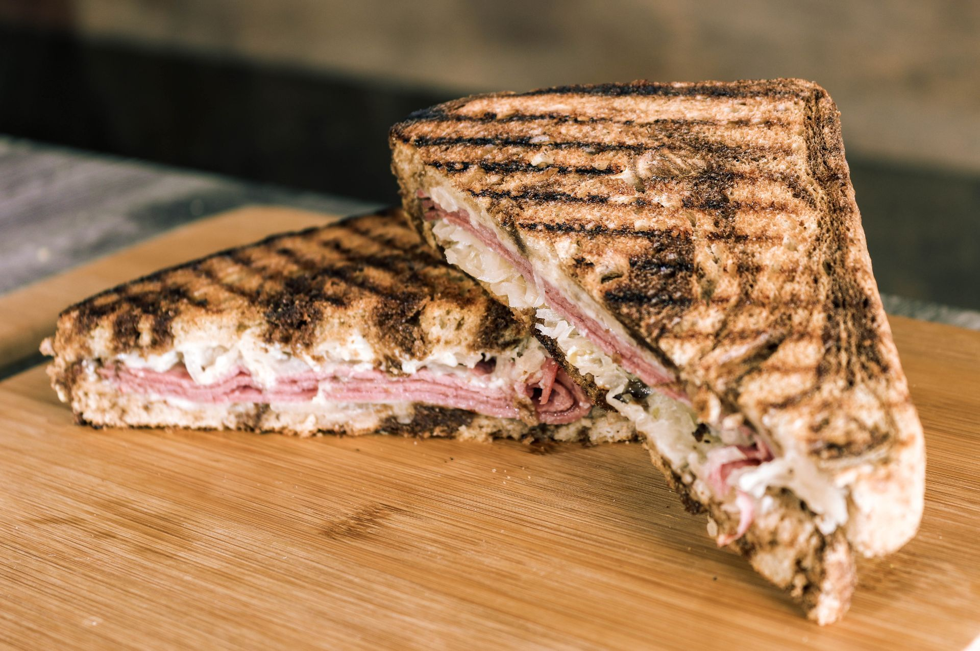 Reuben sandwich on toasted rye
